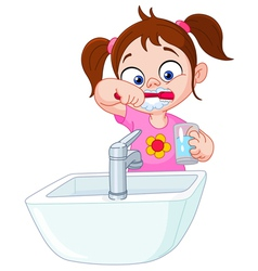 Girl brushing teeth vector