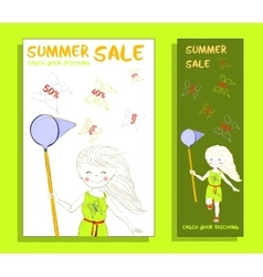 Summer sale banner with cute girl vector