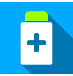Medication bottle flat long shadow square icon vector