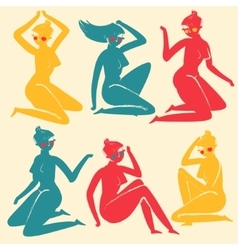 Set of elegant femininity woman silhouettes vector