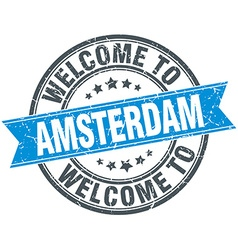 Welcome to amsterdam blue round vintage stamp vector