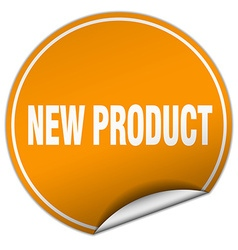 New product round orange sticker isolated on white vector