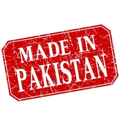 Made in pakistan red square grunge stamp vector
