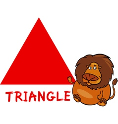 Triangle shape with cartoon lion vector