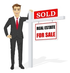 Male real estate agent with sold for sale sign vector