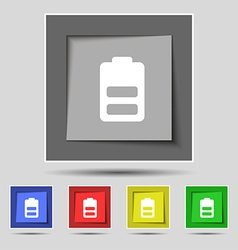 Battery half level Low electricity icon sign on vector image vector image