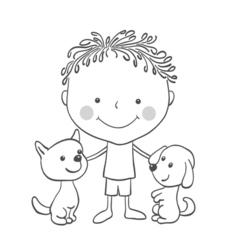 boy puppies vector image vector image