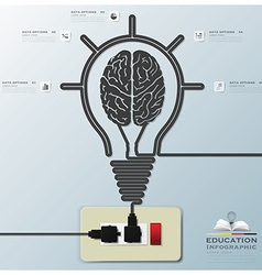 Brain light bulb electric line education vector