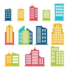 Building icons set in color vector image vector image