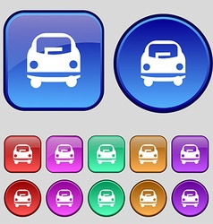 Car icon sign a set of twelve vintage buttons for vector