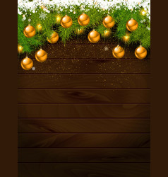 christmas decoration over wooden background vector image
