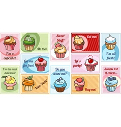colorful delicious cupcakes vector image