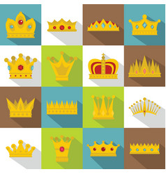 crown icons set flat style vector image vector image
