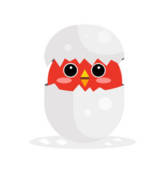 Cute newborn red bird character funny nestling in vector