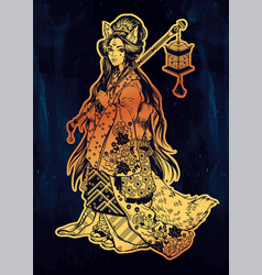 Demon kitsune as geisha ornate kimono lantern vector