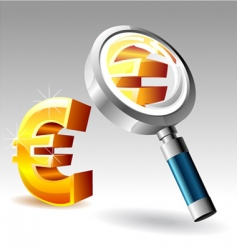 Euro with magnify glass vector image vector image