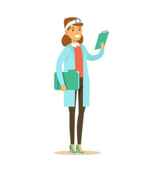 Female doctor with cipboard wearing medical scrubs vector