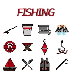 Fishing flat icon set vector image