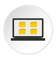 Folder on laptop icon flat style vector
