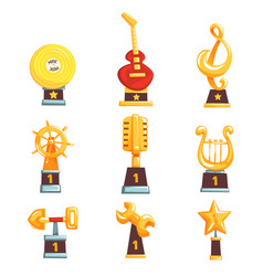Golden trophy cups awards and achievements set of vector