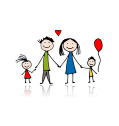happy family sketch for your design vector image vector image