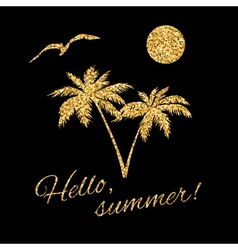 Hello summer Typography Graphic palm vector image