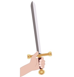 holding sword vector image vector image