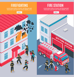 Isometric firefighter banners vector