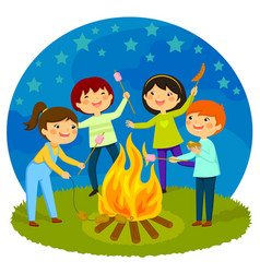 Kids having bonfire vector