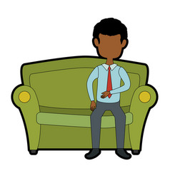 Man sitting on armchair vector