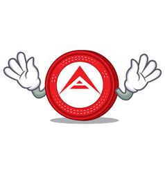 Mocking ark coin mascot cartoon vector