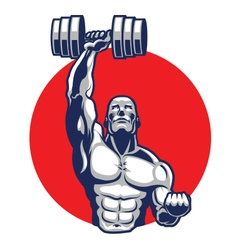 Muscular body builder mascot vector