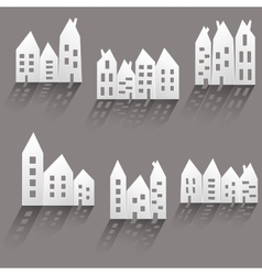 Paper houses with long shadow vector image vector image