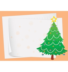 paper sheets and a christmas tree vector image