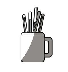 Pencils in mug utensils office shadow vector
