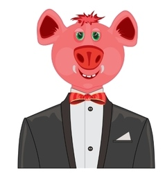 Piglet in suit with butterfly vector