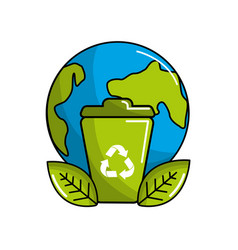 Planet and can trash with recycling symbol and vector
