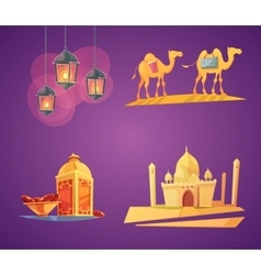 Ramadan cartoon icons vector