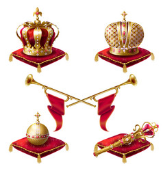Royal golden crowns fanfares scepter and orb vector
