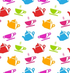 Seamless Texture with Teapots and Teacups vector image