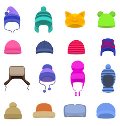 Set cartoon winter hats cap beanie vector