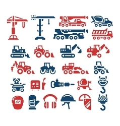 Set color icons of construction equipment vector