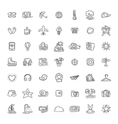 Set of Doodle Travel Icons vector image