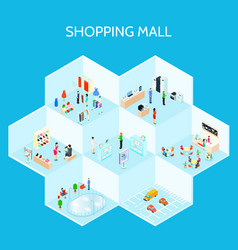 shopping mall composition vector image vector image