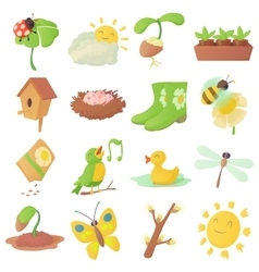 Spring things icons set cartoon style vector