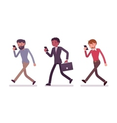 Three men are walking holding a smartphone vector image vector image