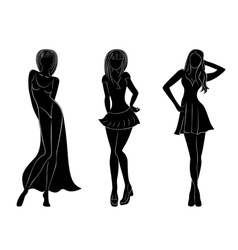Three slim attractive women silhouettes vector