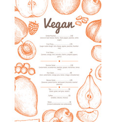 Vegetarian cafe menu hand drawn design vector
