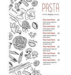Hand drawn pasta menu vintage line art vector