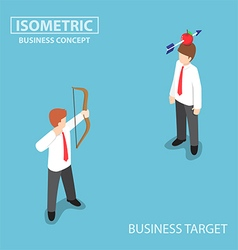 Isometric businessman shoot an apple on colleague vector